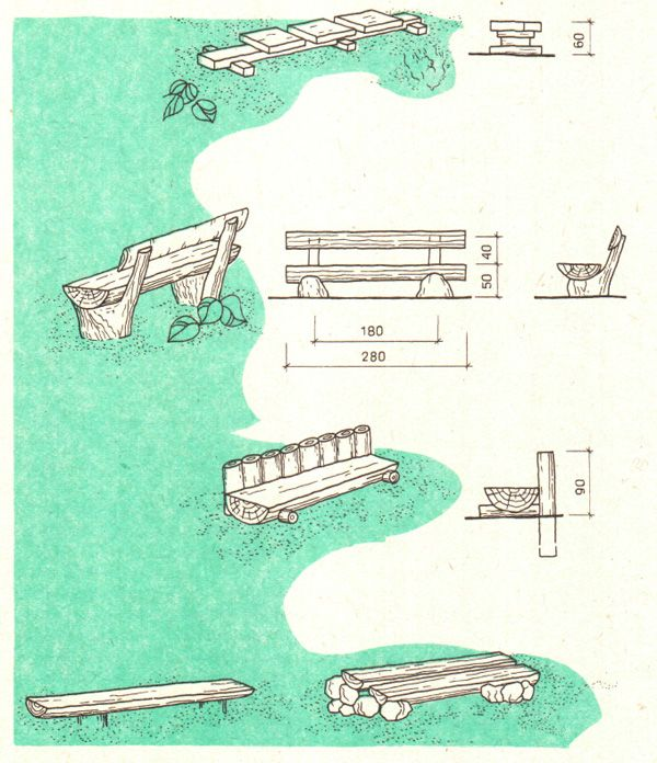 Деревянные скамьи для площадок отдыха в лесопарках