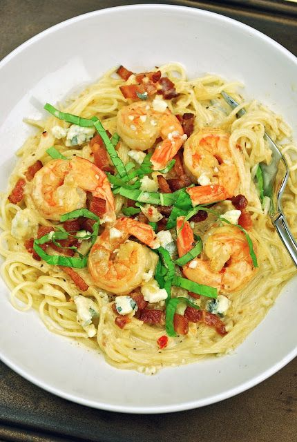 Angel Hair Pasta with White Wine Cream Sauce, Shrimp, Bacon and Blue ...