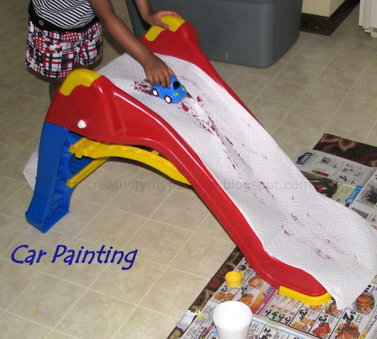 Friday, July 22, 2011Slide: Painting with Cars    We were inspired by Tinekerlab's Slide drawing, Putti prapancha's Painting with balls on slide and Teach preschool Car painting. So we did painting with cars on slide. How fun! CJ used to play by sliding the cars on her indoor slide. She just loved the idea of painting with cars.