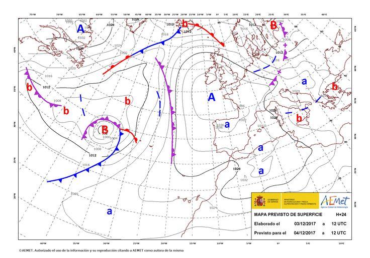 El tiempo del lunes: Otra vez el anticiclón en la peninsula lo que dejara tiempo frío. Alguna lluvia en el