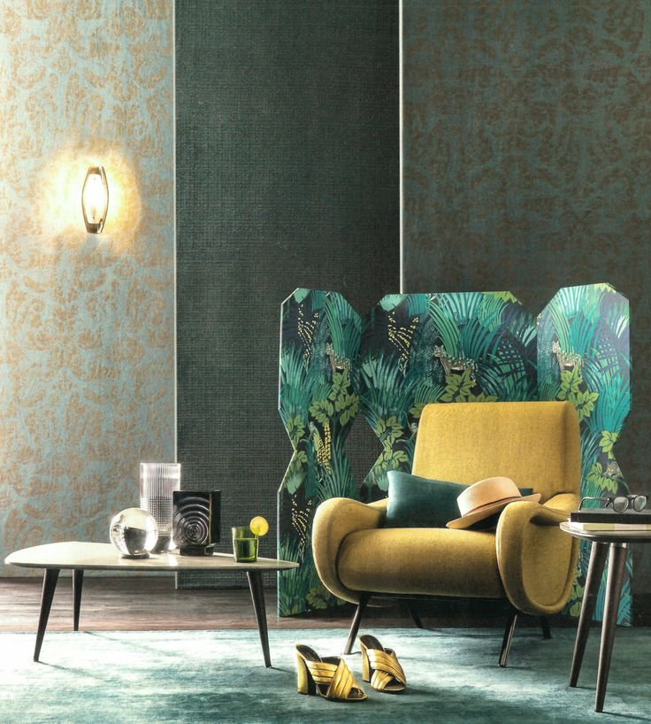 "Our Pierre Frey ""Kipling"" wallpaper in the may issue of Marie Claire Maison Italia - 2016 #jungle #wallpaper #print #decor"