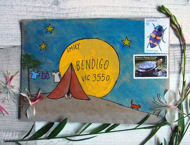 Camping drawing on envelope for ATC or mail art trades.