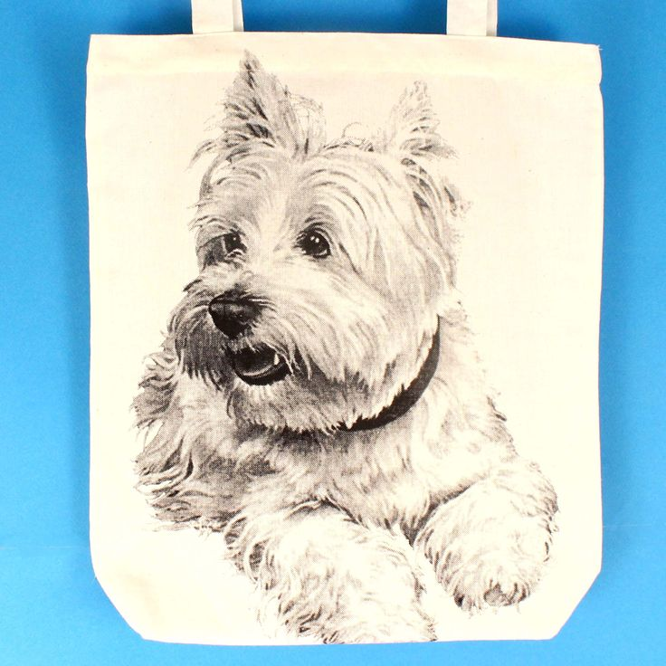 White Terrier Westie Puppy Dog Animal Print Tote Bag | 100% Natural Cotton
