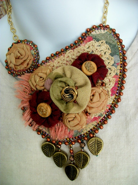 Fabric Flower Bib Statement Necklace  FALL FLORALS by CindyCaraway, $150.00