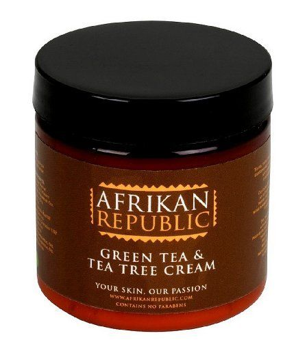 Afrikan Republic Skin Care Green Tea Cream with Tea Tree Oil 4 Oz. by Afrikan Republic. $13.95. Green Tea Skin Care Benefits: Lighten Skin, Tighten Skin, UV Protection, Reduce Sun Damage. Tea Tree Oil Benefits: Fights acne and blemishes. Creamy and soothing on even the most irritated skin. Safe to use on face and Body. Made with natural green tea extract and tea tree oil, Afrikan Republic Green Tea Cream with Tea Tree Oil is a necessary addition to your daily ski...