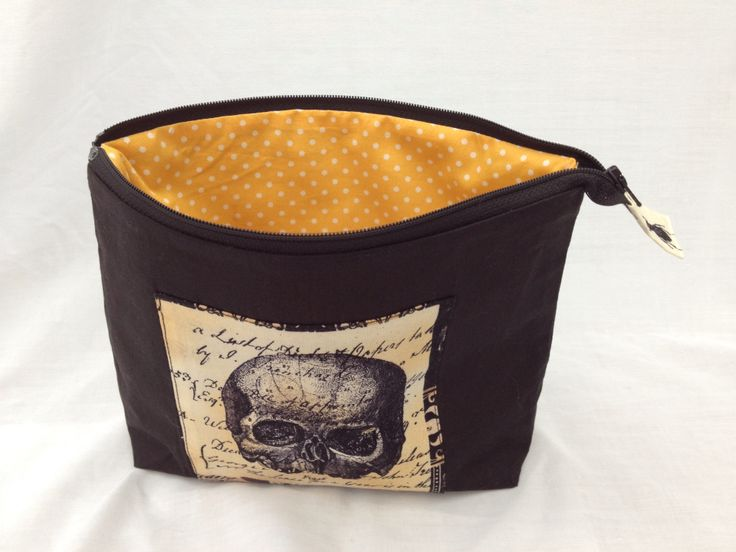 Wide mouth make up bag. Skulls