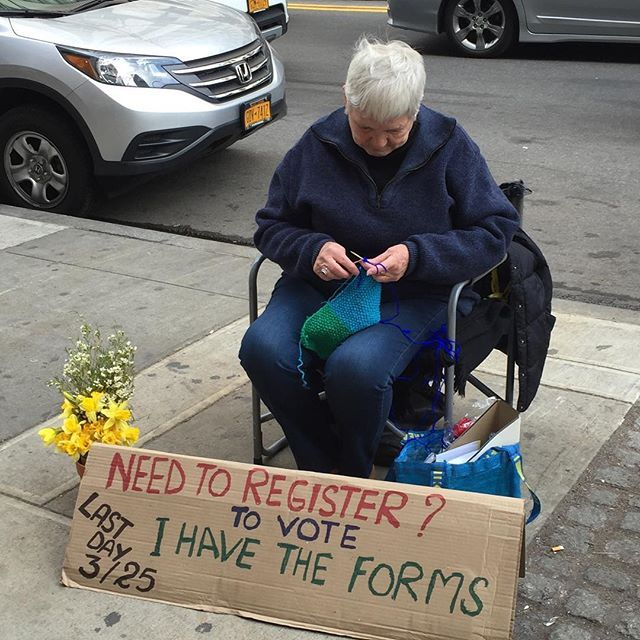@berniesanders supporter, Karen, outside Trader Joe's - patriotism at its finest! Do your part! we only have a week left to register voters for the NY state democratic primary. #gotv #rockthevote #vote #berniesanders #nyc #nyprimary #voterregistration #feelthebern #notmeus #stillbernie
