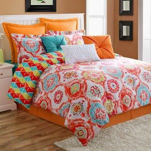 Colorful Comforter Sets Queen : Contemporary Cream Painted Bedroom with  Multicolor Queen Bedding Set, Beige Blackout Windows Curtains, Beige  Blackout Windows Curtains, and Black Wooden Double Bed Without Headboard,  Simple Vintage Bedroom Designs with Color