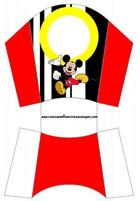 Cajitas para imprimir gratis de Mickey Mouse combinando rojo, blanco, negro y amarillo.