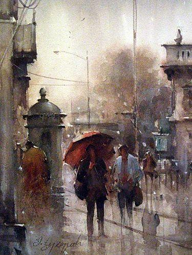 Dusan Djukaric, Watercolour, Rain, love this watercolor