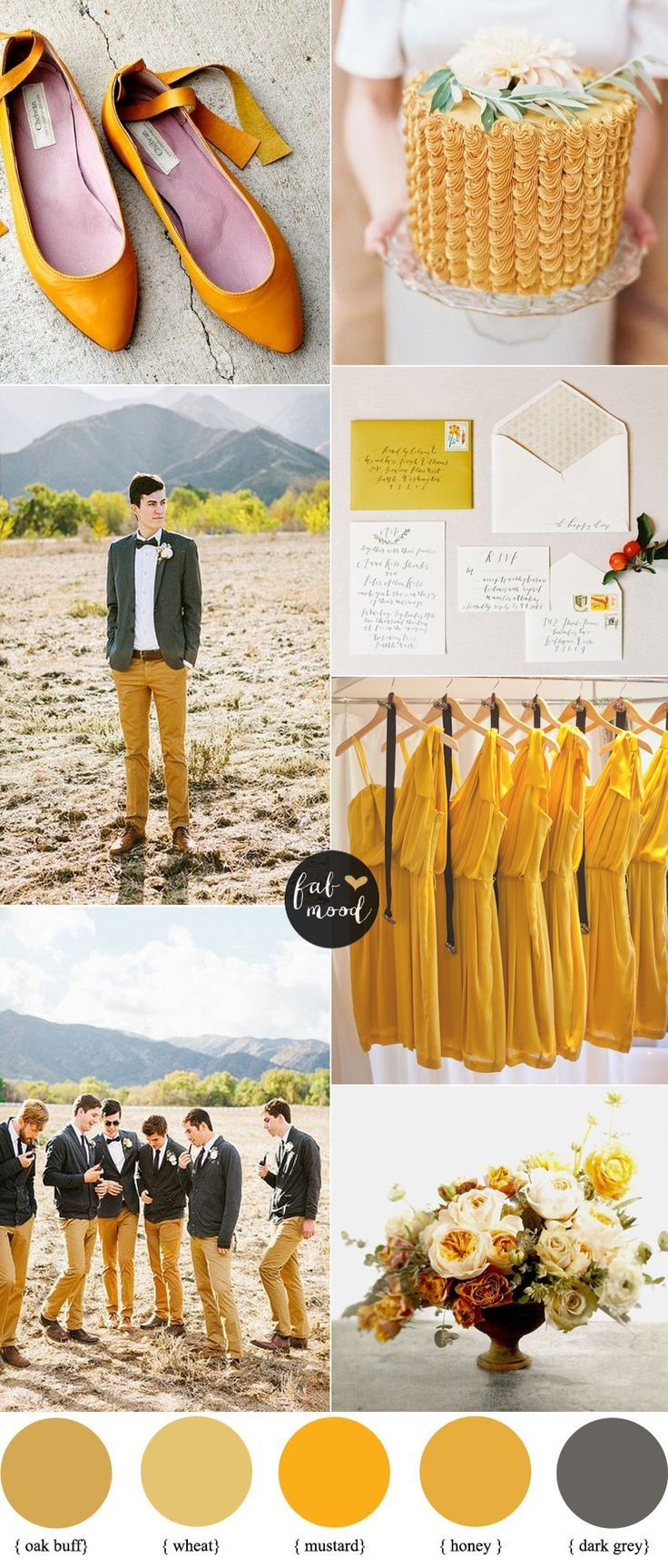 Oak Buff , Mustard and Grey Wedding    Pantone Fall 2015 inspired   http://fabmood.com