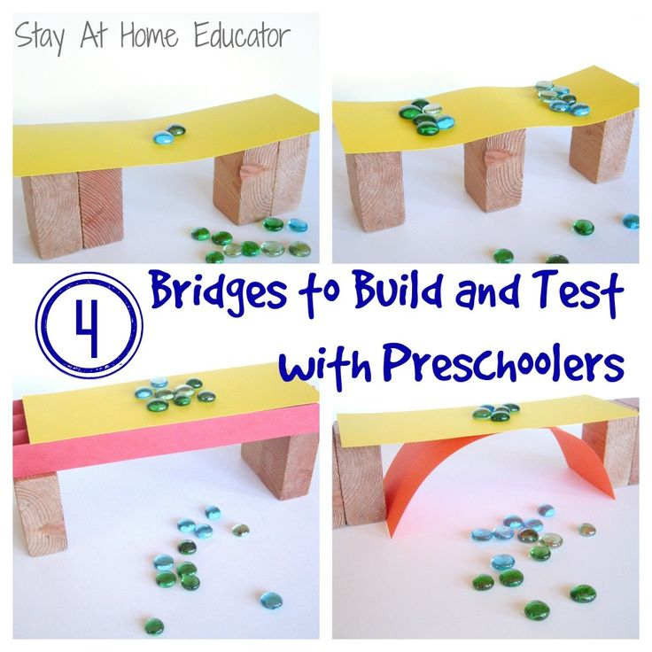 Technology & Engineering- After reading literature and holding discussions regarding types of bridges, provide children with materials to create their own bridges and test their strength. PreK-PS2-2(MA). Through experience, develop awareness of factors that influence whether things stand or fall.