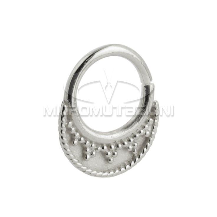 Piercing stile indiano, Piercing al setto nasale in argento 925 con ornamenti stile india, Artigianale Made in italy di Micromutazioni su Etsy