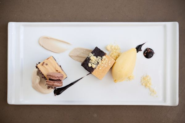 Smoked Chocolate-Carmel Torte with Cocoa Nibs, Chestnut-Duck Fat Purée, Chocolate Macaron, Cornmeal Streusel, Caramel Mousseline, Passion Fruit Sorbet, and Chocolate Sauce