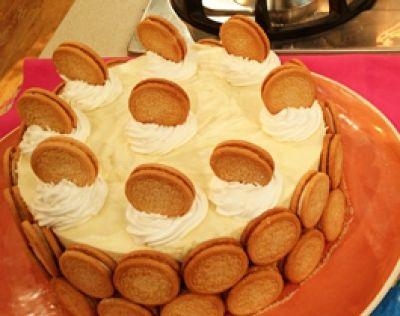 Torta de chocolate blanco y galletitas de vainilla