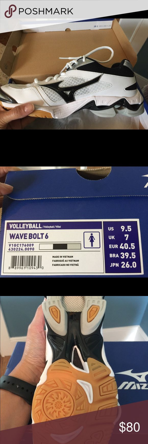 Volleyball Wave Bolt 6 Mizuno Shoe. New in box. Women's volleyball shoe. Color: White/black. Size 9.5 Paid $100. Never Worn. Style still available online for $100 but this size is sold out in some sites and color is sold out too! Mizuno Shoes Sneakers