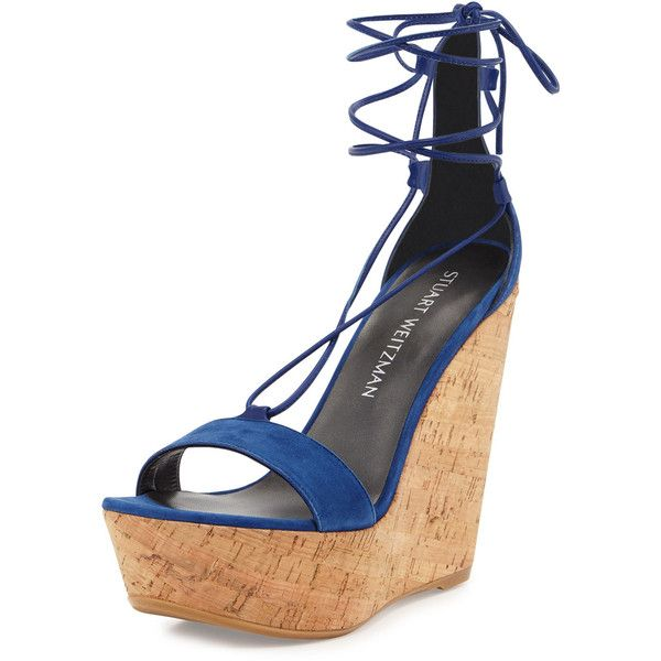 Stuart Weitzman Wrap It Suede Lace-Up Wedge Sandal ($470) ❤ liked on Polyvore featuring shoes, sandals, sapphire, platform wedge sandals, lace up sandals, platform sandals, lace up wedge sandals and strap sandals