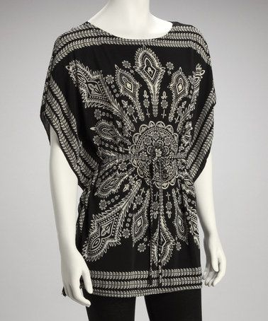 Take a look at this Black Batik Cape-Sleeve Top by Modern Touch on #zulily today!