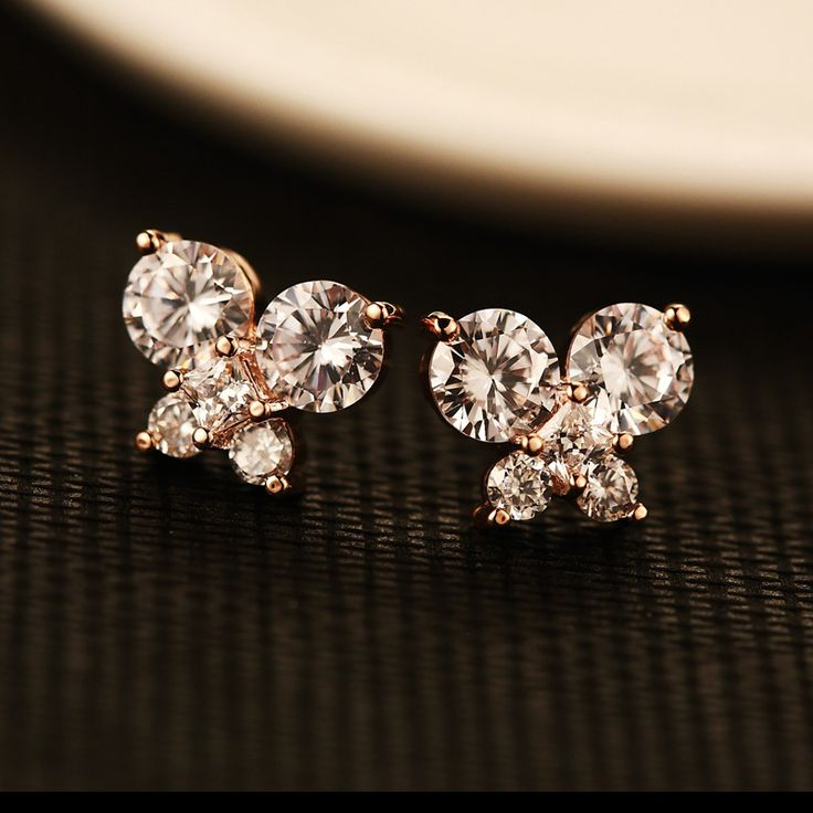 Rose Gold Colour Butterfly Stud Earrings For Women Micro Pave CZ Earings Fashion Jewelry/Pendientes Mujer Moda/Boucle D'oreille