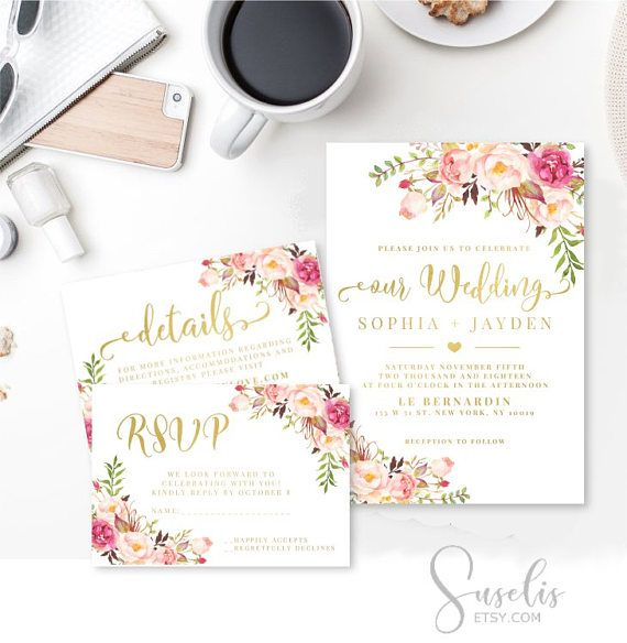 Wedding Invitation Suite Rsvp Thank you Gold text Watercolor