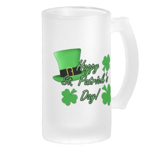 Cool fun green top hat shamrocks st patricks day coffee for Cool glass coffee mugs