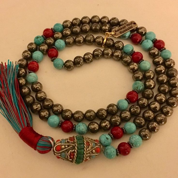 Royal 👑 Golden Pyrite with Coral and Turquoise with hand made Gemstones Gurubead 🙏🙏🙏 # Pyrite Mala Beads # Gold and Red Mala # Gold and Turquoise Mala # Handmade Pyrite