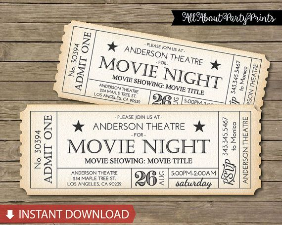 Instant Download Movie Ticket Printable by AllAboutPartyPrints                                                                                                                                                                                 More