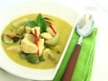 Green Thai Chicken Curry as demonstrated by Chef Chanrat Karatna in Thailand. I was struggling with this dish for years until I realised the correct technique of adding coconut cream *first* and *finally* the coconut milk. Make your own green Thai curry paste from Kris Dhillon's Thai Cookery Secrets.