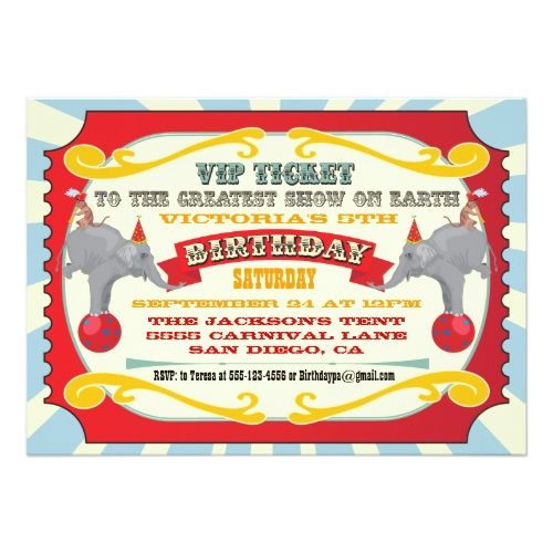 120 best circus birthday invitations images on pinterest circus circus birthday invitations circus or carnival ticket birthday invitation stopboris Image collections