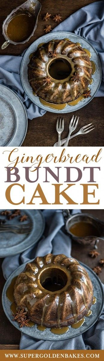 Gingerbread Bundt Bake with Toffee Sauce – a lovely moist cake full of festive spices. | Supergolden Bakes