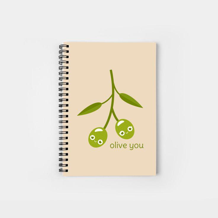 Olive You spiral notebook by Slugbunny - pun, puns, olive, olives, branch, peace, fruit, food, funny, cute, love, relationship, tasteful, tasty, relationships, valentine, valentines, vector, art, illustration, drawing, design