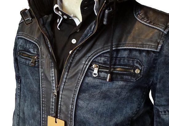 blouson jean's et cuir simili noir /www.destockagevetementhommetendance.fr/blouson-jean-s-et-cuir-simili-noir