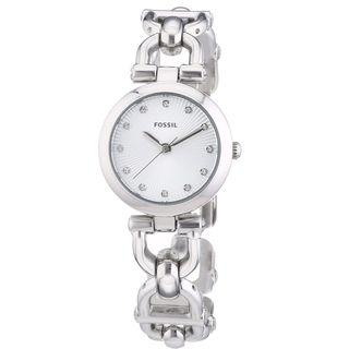 Fossil Women's ES3348 Olive Silver D-llink Stainless Steel Watch