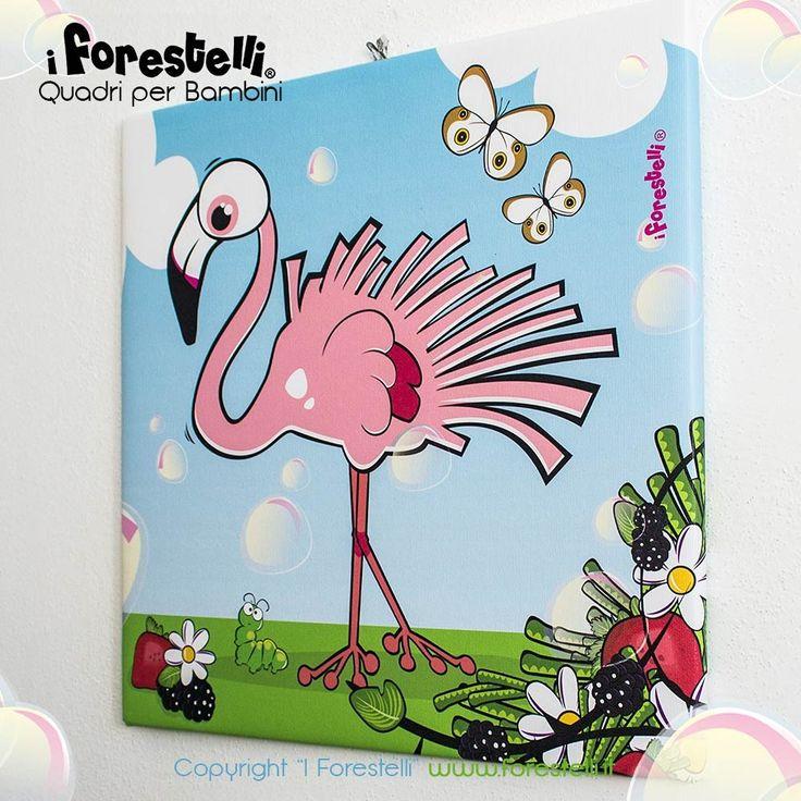 Quadretto per la camera dei bambini con il simpatico fenicottero rosa quadri per bambini e - Quadri per camera bambini ...
