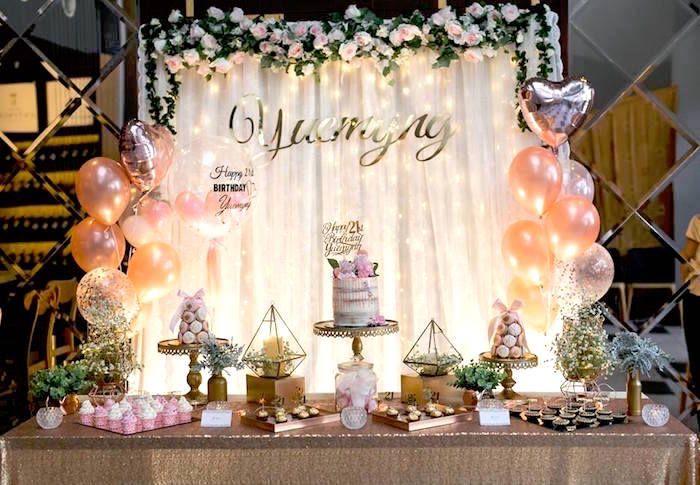 Elegant 21st Birthday Party Kara S Party Ideas 21st Birthday Decorations Elegant Birthday Party Diy Birthday Decorations