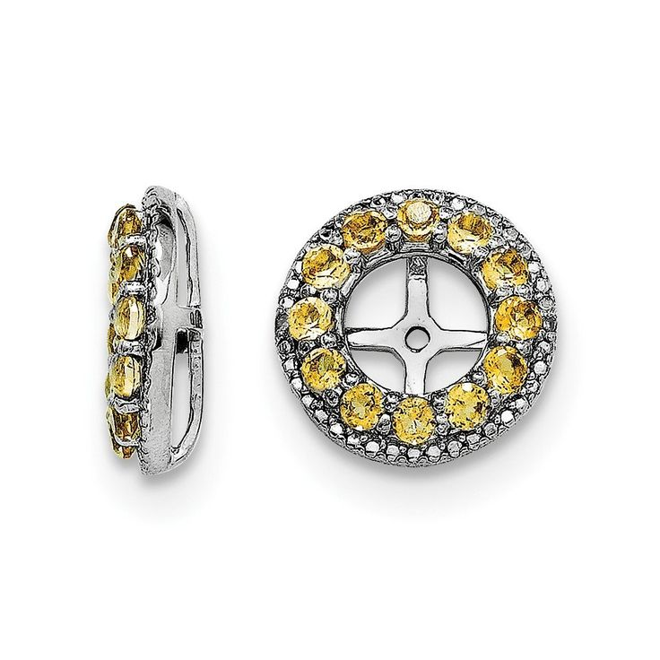 925 Sterling Silver Genuine Diamond & Citrine Earring Jackets (0.01 CTTW, I-J Color, I2 Clarity). 925 Sterling Silver. Finish: Polished. Approximate Weight: 1.89 Grams. Length: 12 MM. Width: 12 MM. Genuine Diamond & Citrine Earring Jackets (0.01 CTTW, I-J Color, I2 Clarity).