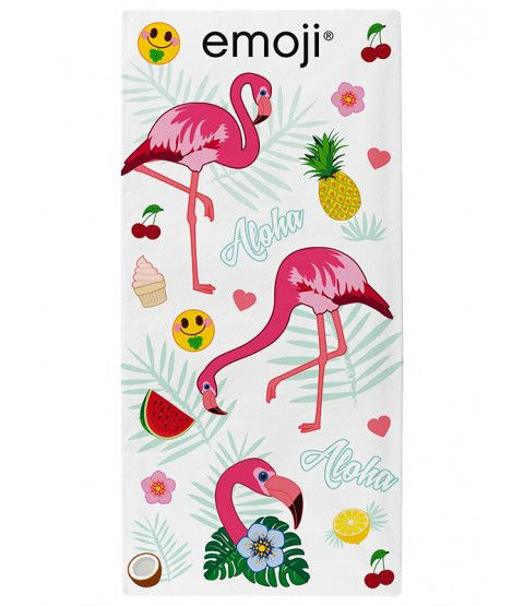 This Emoji Flamingos Beach Towel features flamingos and tropical themed emojis. Ideal for the beach, pool or bath. Free UK delivery available.