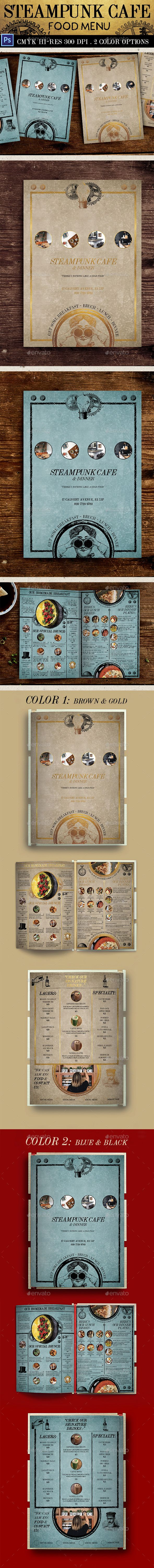 Steampunk Cafe Food Menu — Photoshop PSD #steampunk menu #menu • Available here → https://graphicriver.net/item/steampunk-cafe-food-menu/16919255?ref=pxcr