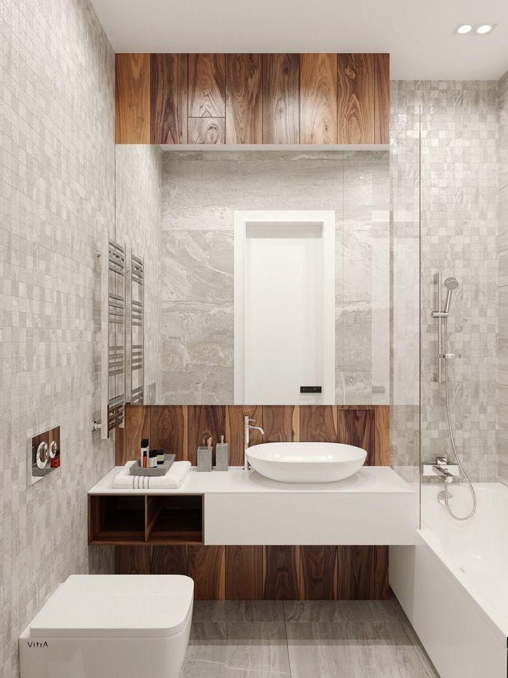 Деревянные элементы в ванной комнате намекают на валах среди плитки и мрамора.  Широкие зеркала отражают чистые белые керамические, хромированные светильники обращающиеся к промышленным.  В ванной есть текстурированные стены из черного гранита, полнометражный, напоминающие о Stormtroopers внутри.