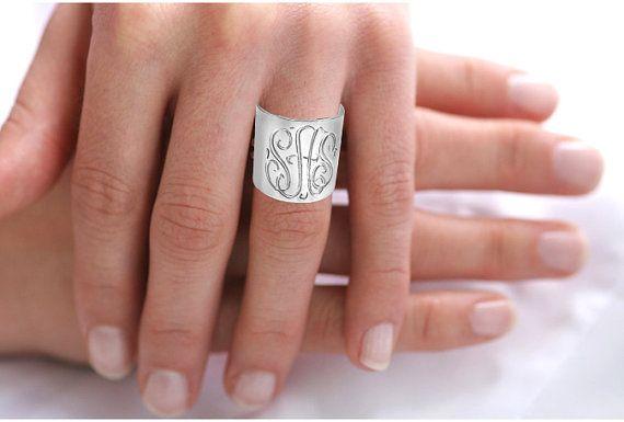 : Gift, Initials Ring, Sterling Silver, Monogram Rings, Ring Order, Monogrammed Ring