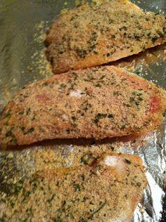 Testing Trendy....1, 2, 3: Baked parmesan tilapia (Fareway recipe)