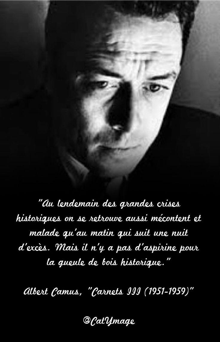 """""""Au lendemain des grandes crises historiques on se retrouve aussi mécontent et malade qu'au matin qui suit une nuit d'excès. Mais il n'y a pas d'aspirine pour la gueule de bois historique."""" Albert Camus, """"Carnets III (1951-1959)"""""""