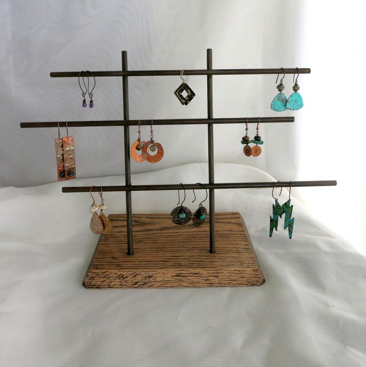 Metal Earring Display Stand, Craft Show Jewelry Display, Ready to Ship, Modern Steel with Wood Base by SupplyYourSoul on Etsy https://www.etsy.com/listing/457979962/metal-earring-display-stand-craft-show