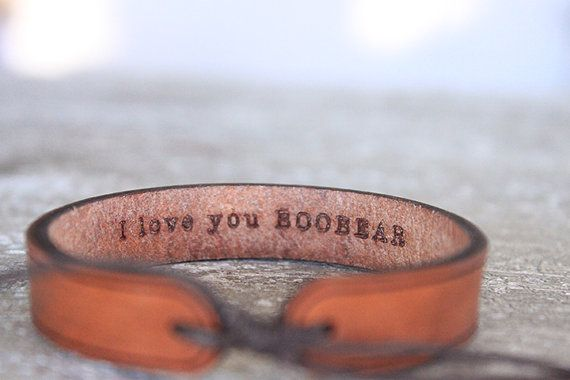 Men's leather bracelet Personalized Valentine's by GoWildBoutique