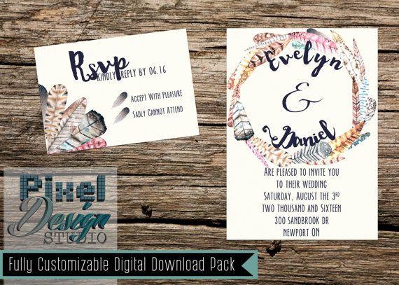 Fair Feather Friend 5 x 7 Wedding Invitation  by PixelDesignStudio