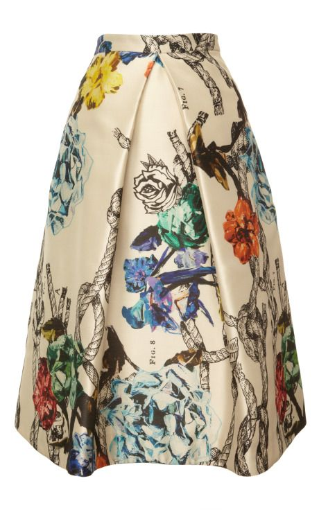 Tattoo Print On Silk Gazaar Pleated Skirt by Tibi - Moda Operandi