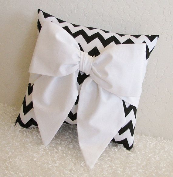 Black and White Chevron Bow Accent-Throw Pillow by pillowsbycindee