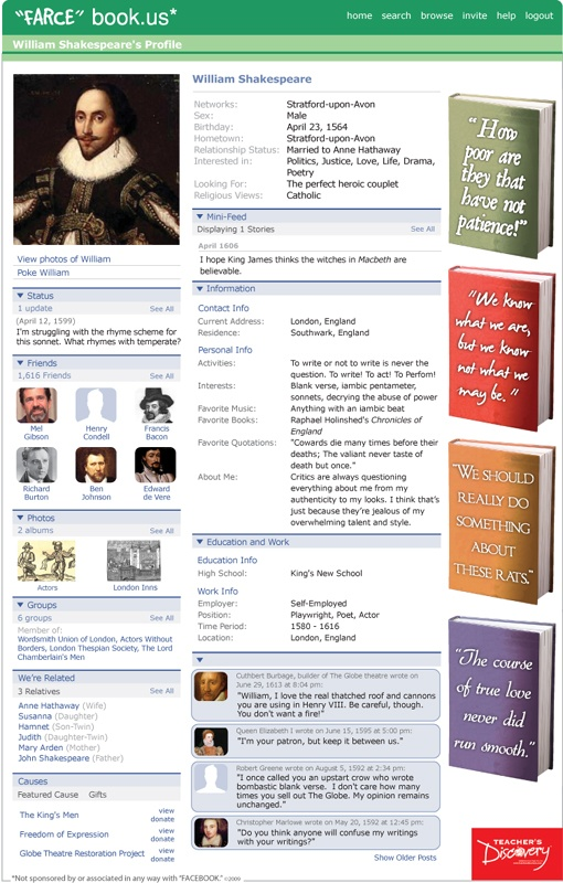 If Shakespeare had a Facebook... | 2 be [or not 2 be] Shakespeare ...