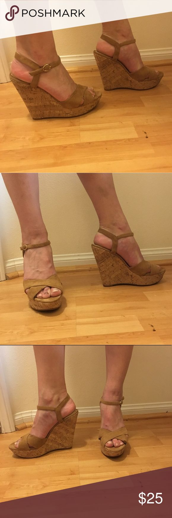 Brand new Jessica Simpson Wedges Brand new, only worn for photos Jessica Simpson Wedges. nude, cloth material straps and a cork wedge. True to size., works for wide feet as well! No TRADES! Jessica Simpson Shoes Wedges