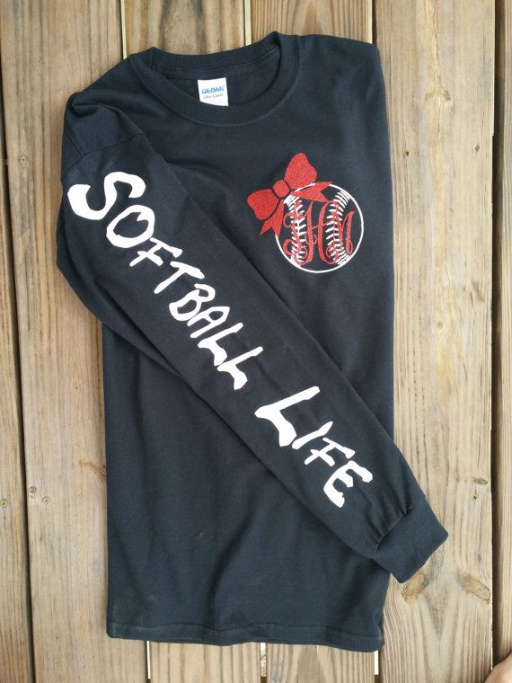 Softball Life Monogram T-Shirt by VinylByTaylor on Etsy